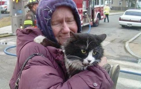 Woman Reunites With Cat After Blaze Thanks to Firefighters