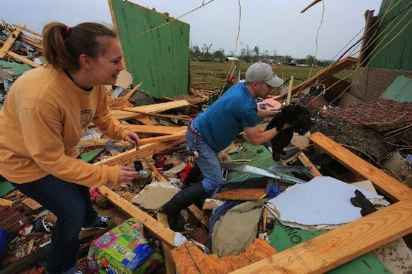 Couple Finds Lost Cat Under Debris of Tornado-Destroyed Home