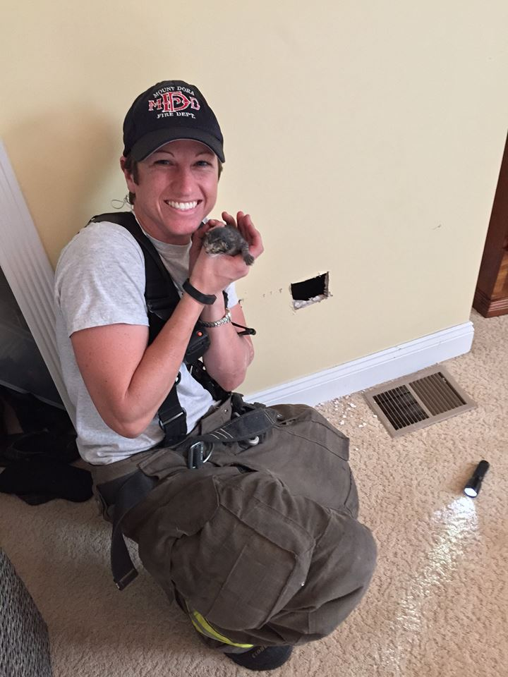 Firefighter Rescues and Then Adopts Kitten