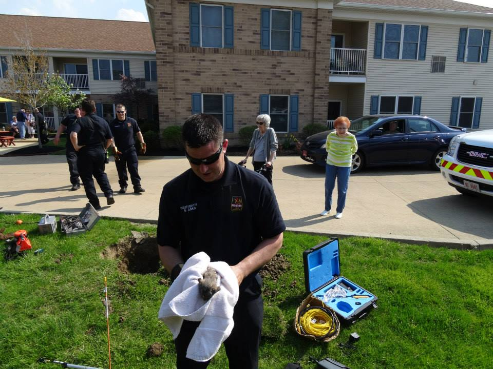 Mentor Firefighters Rescue Kitten from a Drain Pipe