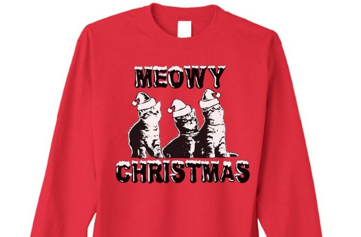 Happy Family Clothing Meowy Christmas Funny Ugly Sweater Long Sleeve T-shirt