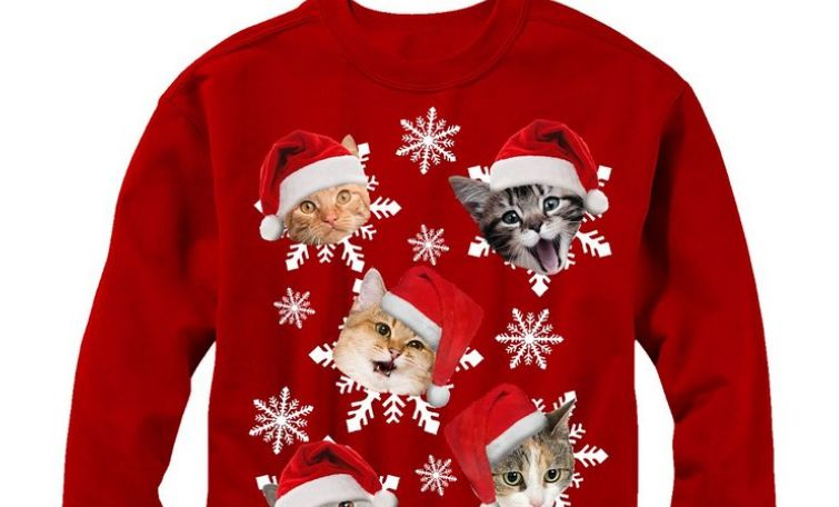 Lost Gods Christmas Cat Snowflakes Womens Graphic Sweatshirt