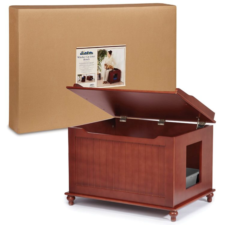 Meow Town Windsor Cat Litter Bench Litter Box Cabinet, In Mahogany U2013 $201.52